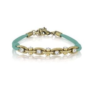 Jewelry - Turquoise Leather and Crystal Chain Bracelet